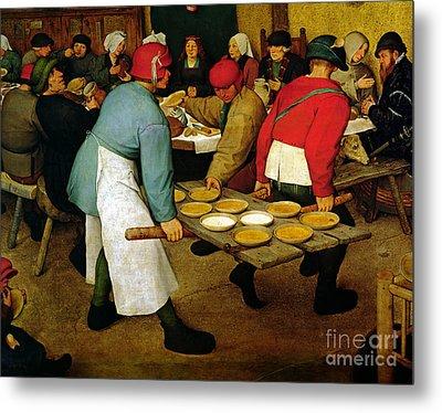 Peasant Wedding Metal Print by Pieter the Elder Bruegel