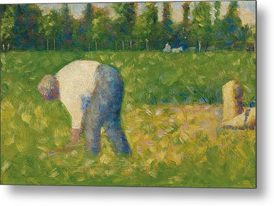 Peasant Working Metal Print by Georges Pierre Seurat