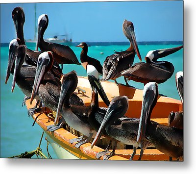 Pelicans On A Boat Metal Print by Bibi Romer