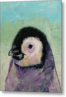Penguin Chick Metal Print by Michael Creese