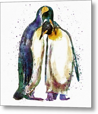 Penguin Couple Metal Print by Marian Voicu