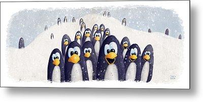 Penguin Winter Metal Print by David Breeding