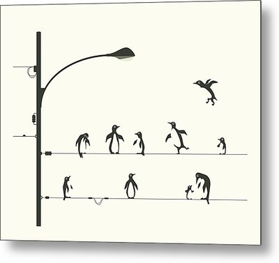 Penguins On A Wire Metal Print by Jazzberry Blue