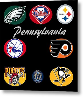Pennsylvania Professional Sport Teams Collage  Metal Print by Movie Poster Prints