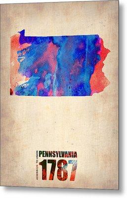 Pennsylvania Watercolor Map Metal Print by Naxart Studio