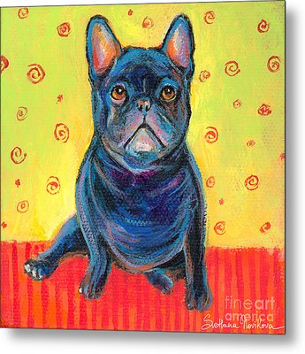Pensive French Bulldog Painting Prints Metal Print by Svetlana Novikova