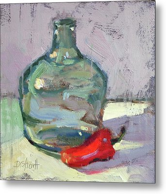 Pepper And Bottle Metal Print by Donna Shortt