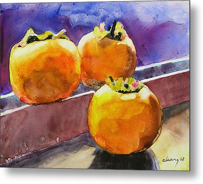 Persimmon Metal Print by Melody Cleary