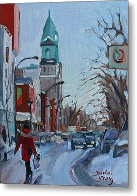 Petite Italie, Montreal Winter Scene Metal Print by Darlene Young