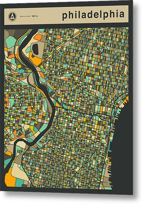 Philadelphia City Map Metal Print by Jazzberry Blue