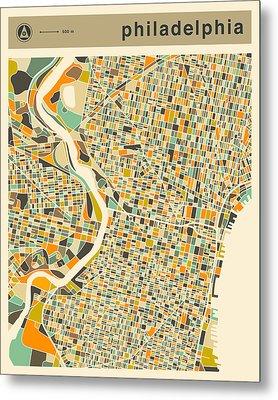Philadelphia Map 2 Metal Print by Jazzberry Blue
