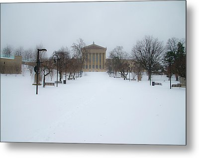 Philadelphia Museum Of Art After A Snowfall Metal Print by Bill Cannon