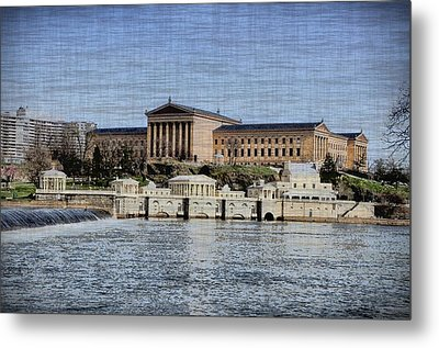 Philadelphia Museum Of Art And The Fairmount Waterworks From Across The Schuylkill River Metal Print by Bill Cannon
