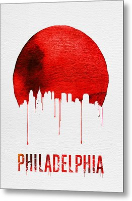 Philadelphia Skyline Redskyline Red Metal Print by Naxart Studio