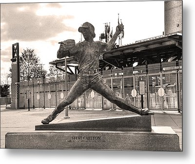 Phillies Hall Of Famer Steve Carlton In Sepia Metal Print by Bill Cannon