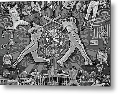 Phillies Legends In Black And White Metal Print by Frozen in Time Fine Art Photography