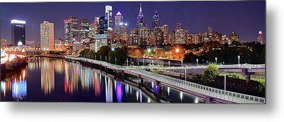 Philly In Panoramic View Metal Print by Frozen in Time Fine Art Photography