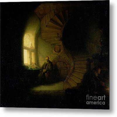 Philosopher In Meditation Metal Print by Rembrandt