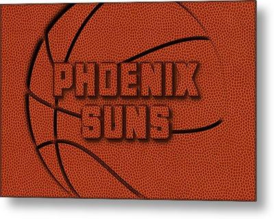 Phoenix Suns Leather Art Metal Print by Joe Hamilton