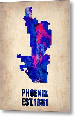 Phoenix Watercolor Map Metal Print by Naxart Studio