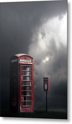 Phone Box With Letter Box Metal Print by Joana Kruse