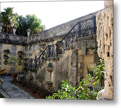 Photography Of Garden With Stair  Metal Print by Mario Perez