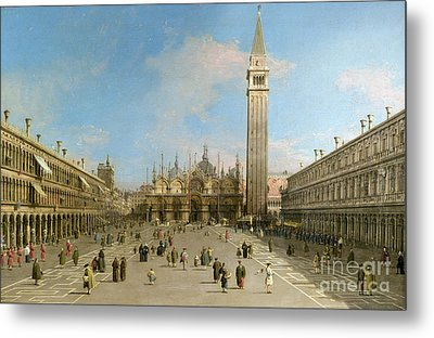Piazza San Marco Looking Towards The Basilica Di San Marco  Metal Print by Canaletto
