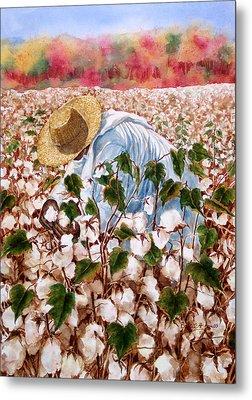 Picking Cotton Metal Print by Barbel Amos