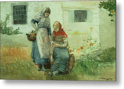 Picking Flowers Metal Print by Winslow Homer