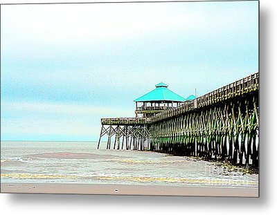 Pier At Folly Beach Metal Print by Kathleen Struckle