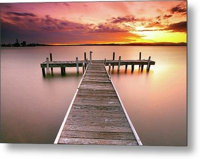 Pier In Lake Macquarie At Sunset, Australia Metal Print by Yury Prokopenko