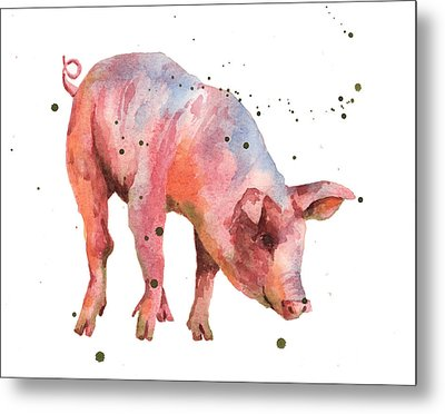 Pig Painting Metal Print by Alison Fennell