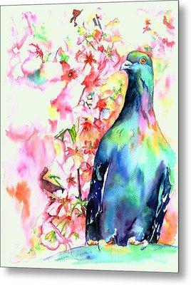 Pigeon Eye Metal Print by Christy  Freeman