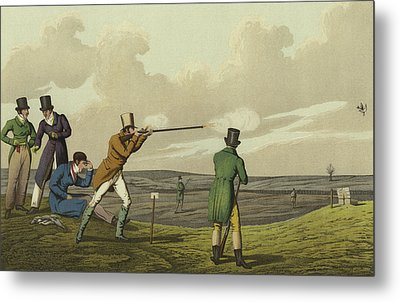 Pigeon Shooting Metal Print by Henry Thomas Alken