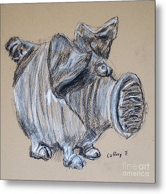 Piggy Bank Drawing By Caffrey Fielding Metal Print by Caffrey Fielding