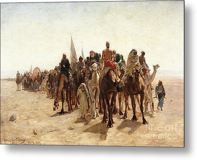 Pilgrims Going To Mecca Metal Print by Louis Comfort Tiffany