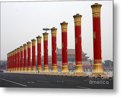 Pillars At Tiananmen Square Metal Print by Carol Groenen
