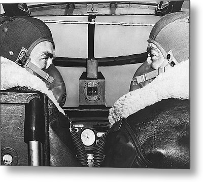 Pilots In B-25 Cockpit Metal Print by Underwood Archives