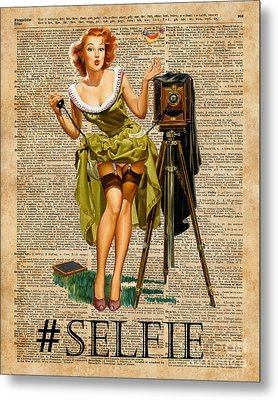 Pin Up Girl Making #selfie Vintage Dictionary Art Metal Print by Jacob Kuch