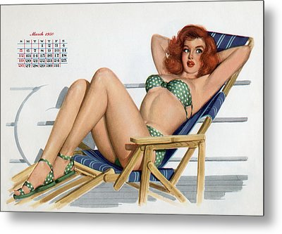Pin Up In Bikini On A Deckchair On A Boat Metal Print by American School