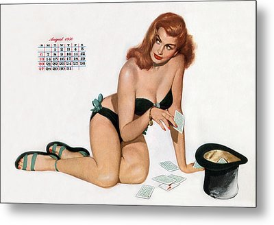 Pin Up Playing Cards Metal Print by American School