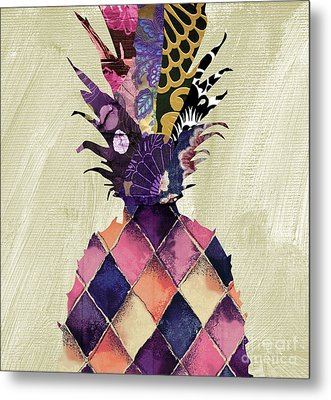 Pineapple Brocade II Metal Print by Mindy Sommers
