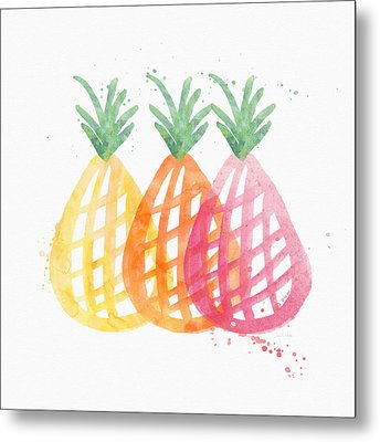 Pineapple Trio Metal Print by Linda Woods