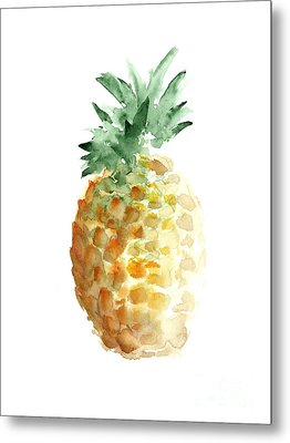 Pineapple Watercolor Minimalist Painting Metal Print by Joanna Szmerdt
