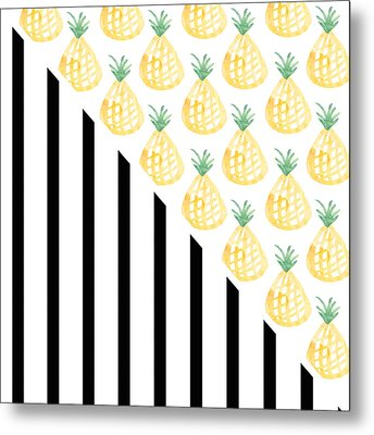 Pineapples And Stripes Metal Print by Linda Woods
