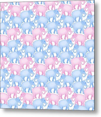 Pink And Blue Elephant Pattern Metal Print by Antique Images