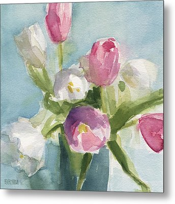 Pink And White Tulips Metal Print by Beverly Brown