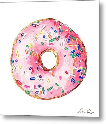 Pink Donut With Sprinkles Metal Print by Laura Row