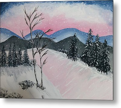 Pink Frost Metal Print by Nura Abuosba
