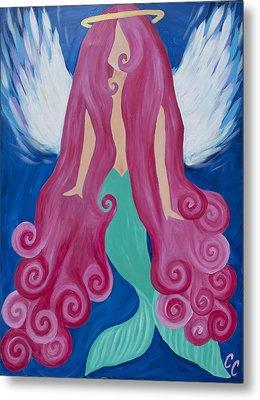 Pink Mermaid Angel Metal Print by Chelsea Crumbliss